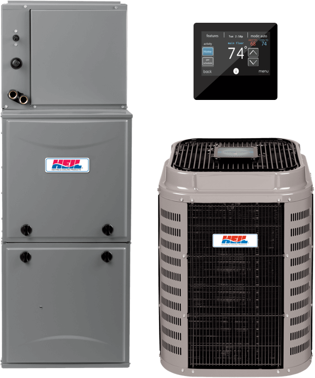 A picture of a furnace and an air conditioning unit